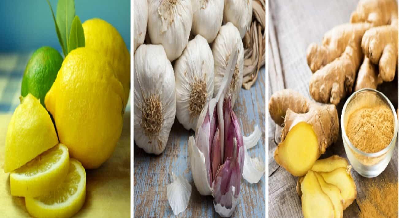Limone, aglio e zenzero per il decotto